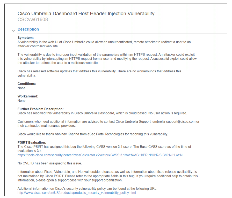 Host Header Injection vulnerability